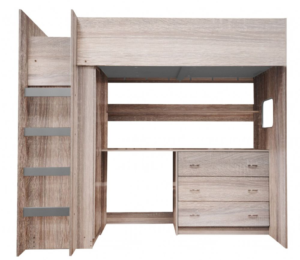 Langham High Sleeper Bed Oak
